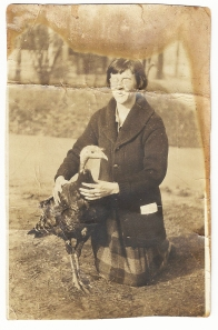 Annie with one of her turkeys.